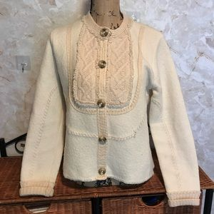 Sigrid Olsen 100% Wool apron boho sweater jacket